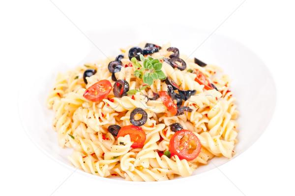 пасты белый пластина итальянский блюдо продовольствие Сток-фото © calvste