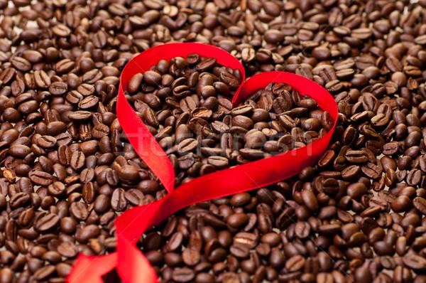 Kávébab szív alak szalag bab textúra kávé Stock fotó © calvste