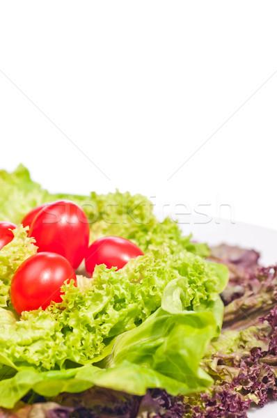 Taze marul domates plaka kiraz domates Stok fotoğraf © calvste