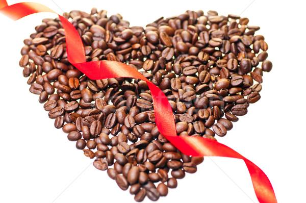 Szív alak kávé vörös szalag textúra kávé szív Stock fotó © calvste