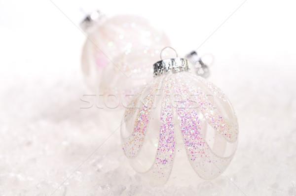 два белый стекла Рождества свет снега Сток-фото © calvste