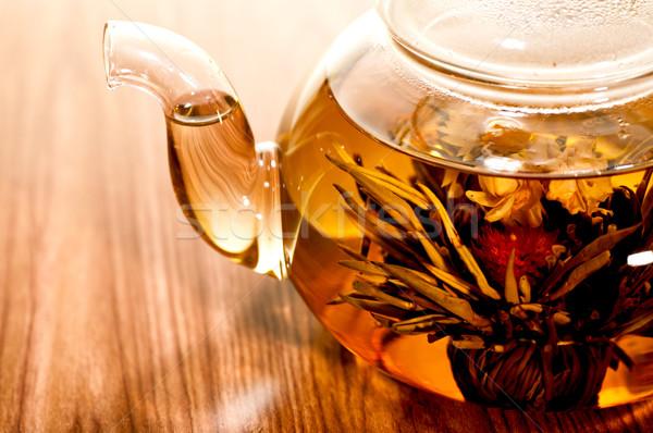 Yeşil çay cam demlik ahşap masa su Stok fotoğraf © calvste