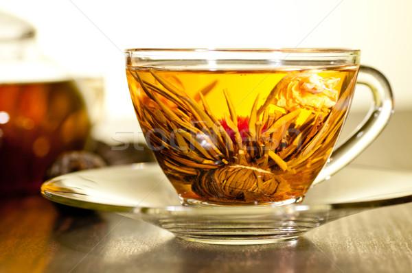 çiçek çay cam fincan aşırı Stok fotoğraf © calvste