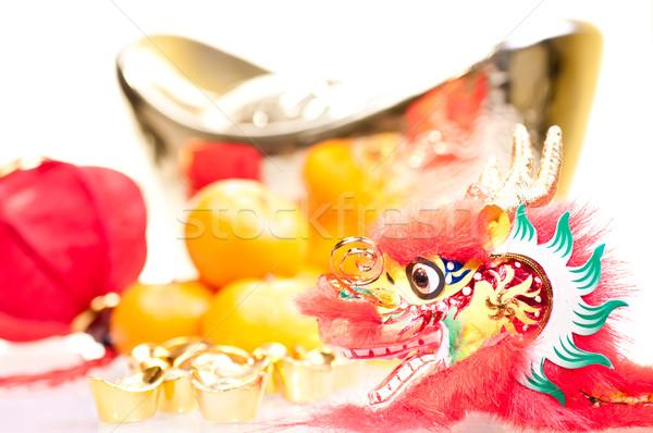 Kínai új év év sárkány dekoráció nagy arany Stock fotó © calvste