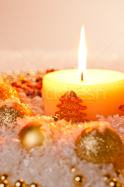 Gold Christmas candle flame Stock photo © calvste