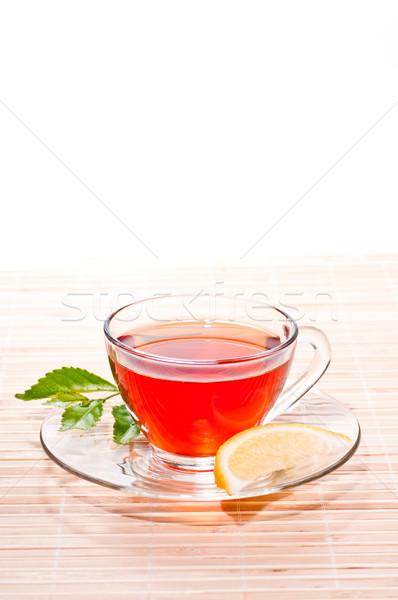 Stock photo: Hot tea with lemon