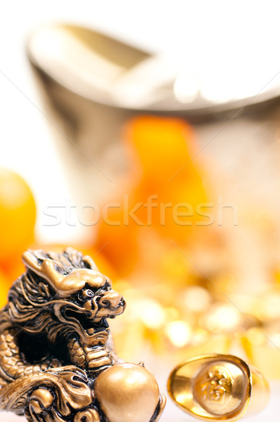 Chinese new year with ingot and dragon close up Stock photo © calvste