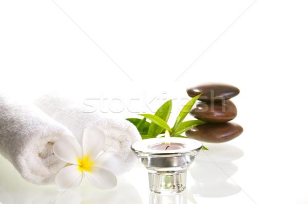 Spa Rood zen stenen witte bloem kaars Stockfoto © calvste