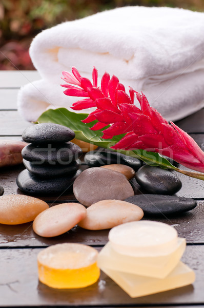Outdoor zen wellness with red ginger flower with soap Stock photo © calvste