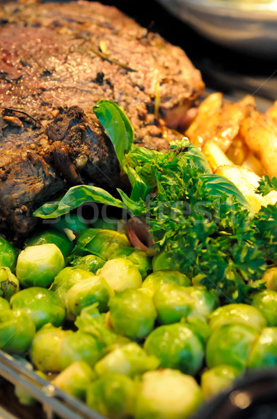 Roast beef and brussels sprouts Stock photo © calvste