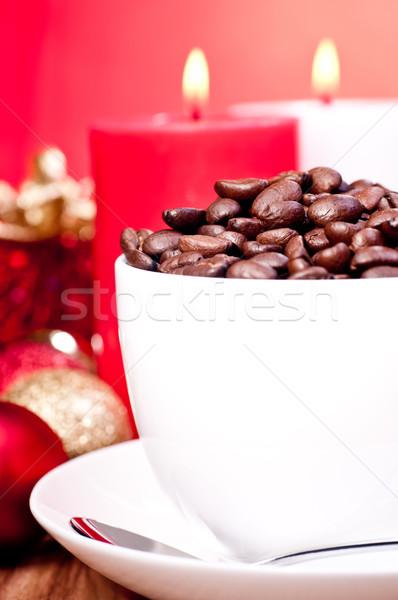 Natal grãos de café copo vermelho decorações Foto stock © calvste