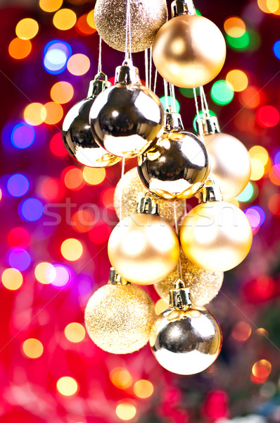 Arany karácsony akasztás fények díszítések kék Stock fotó © calvste