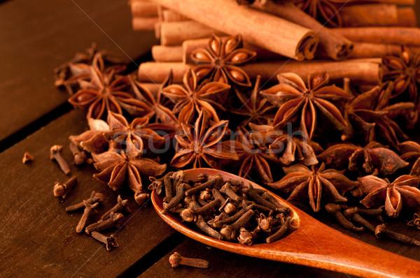 специи таблице различный деревянный стол продовольствие фрукты Сток-фото © calvste