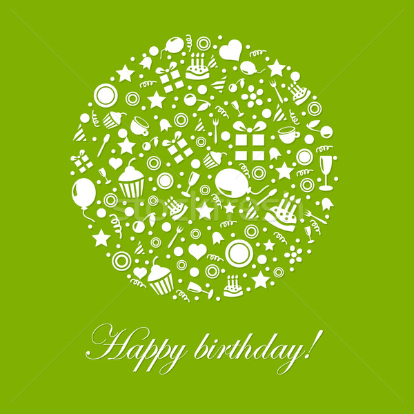 Green Happy Birthday Card Stock photo © cammep