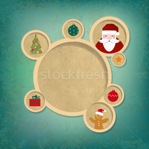 Old Christmas Web Design Bubbles And Santa Claus Stock photo © cammep