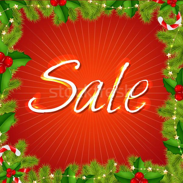 ストックフォト: クリスマス · 販売 · ポスター · 孤立した · 赤 · 森林