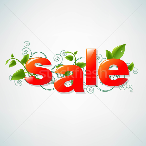 Sale Poster With Green Leaves Stock photo © cammep