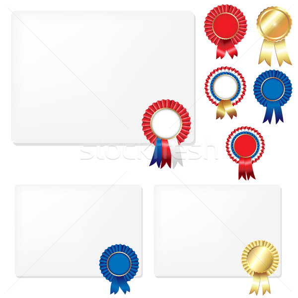 Ribbons Rosette Badge And Blank Gift Tags Stock photo © cammep