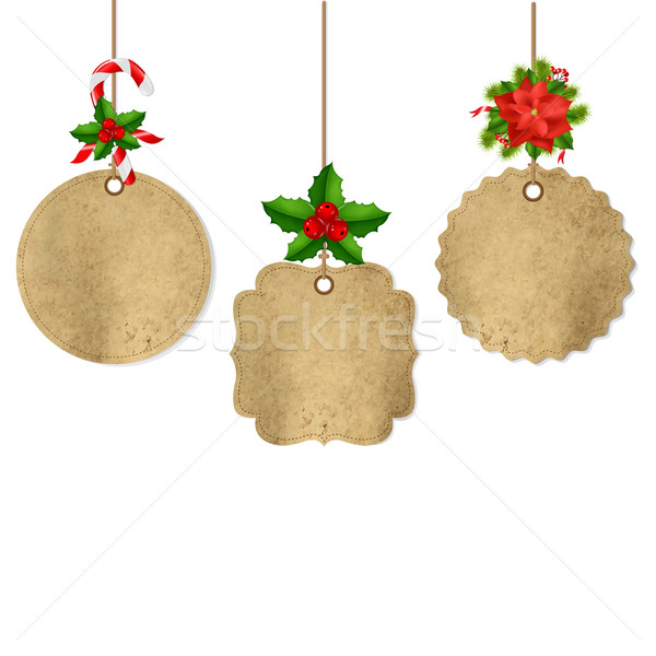 Xmas Labels Set With Holly Berry And Poinsettia Stock photo © cammep