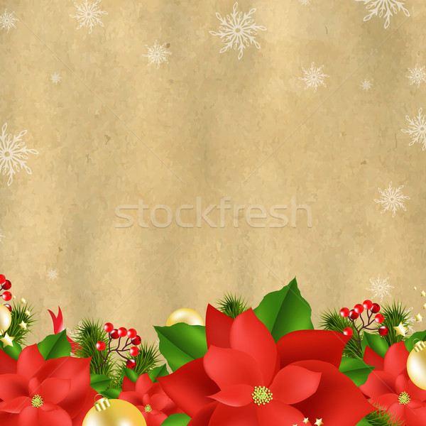 Christmas Card With Poinsettia Stock photo © cammep