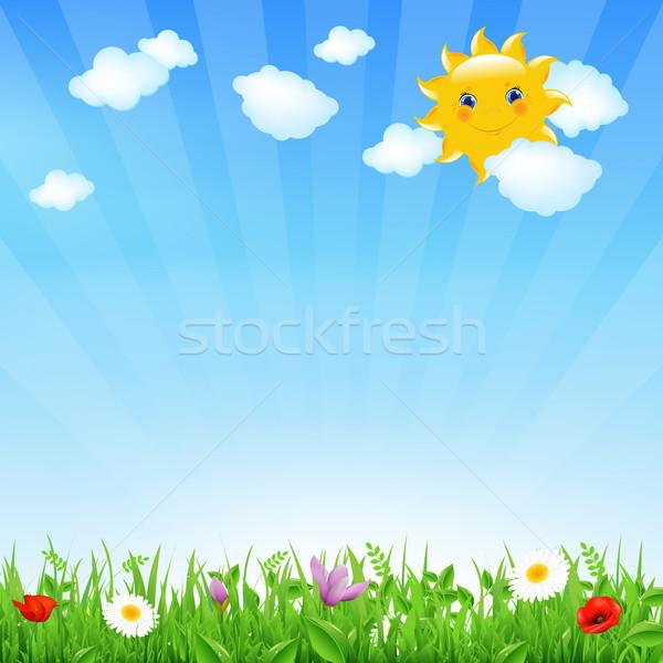 Cartoon krajobraz słońce chmury niebo kwiat Zdjęcia stock © cammep