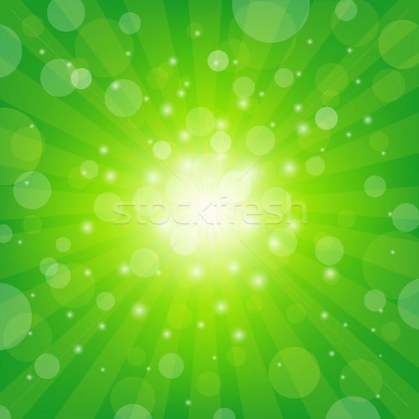 Green Sunburst Background Stock photo © cammep
