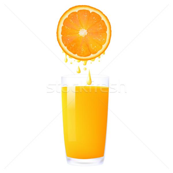 Sok pomarańczowy pomarańczowy szkła odizolowany biały żywności Zdjęcia stock © cammep