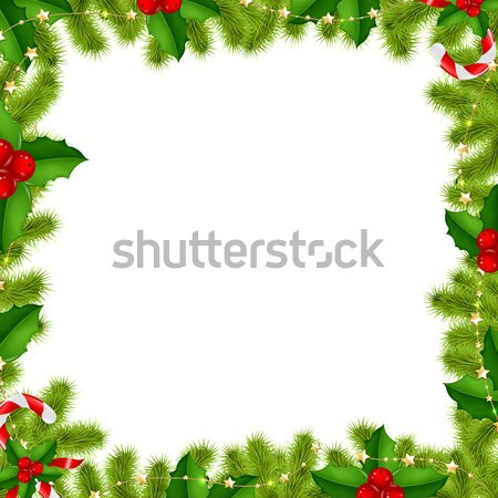 Border Fir-tree Branches With Gold Stars And Holly Berry Stock photo © cammep
