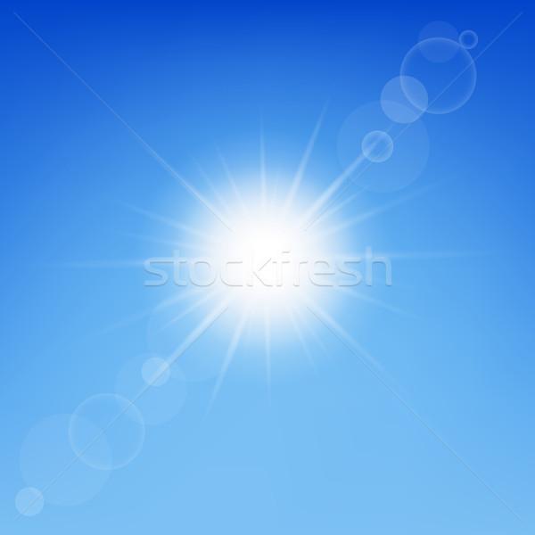 Stock fotó: Nap · csillogás · kék · ég · égbolt · absztrakt · fény