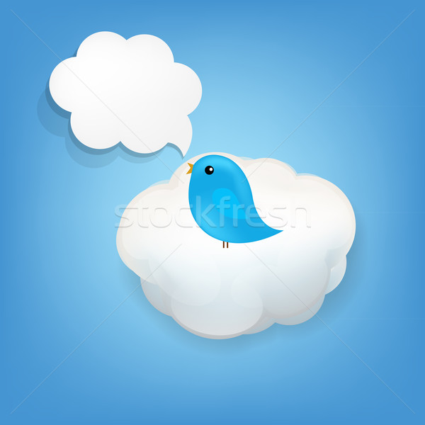 Cloud Icon With Bird Stock photo © cammep