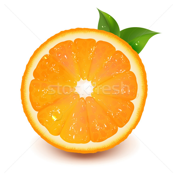 Half Of Orange With Leaf And Water Drop Stock photo © cammep
