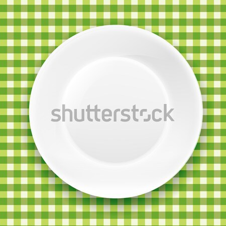 Green Checkered Cloth And White Plate Stock photo © cammep