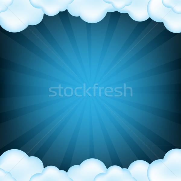 Niebieski chmury gradient odizolowany retro Zdjęcia stock © cammep