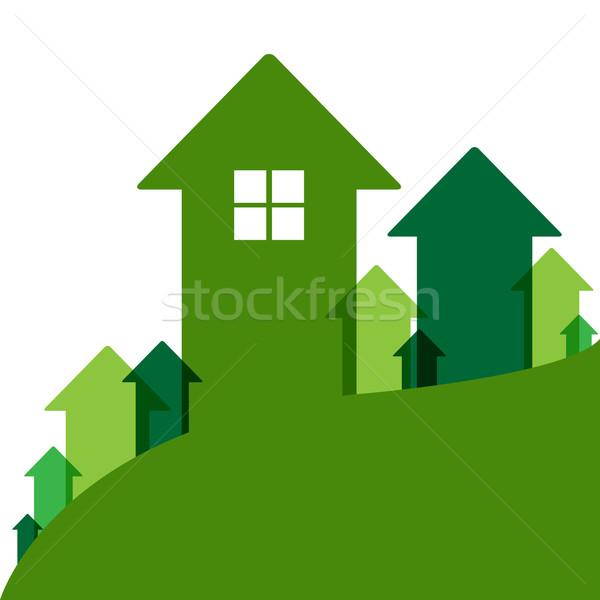 Zielone domu wartość domu wartości ceny Zdjęcia stock © cammep