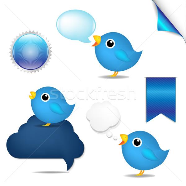 Kék madarak szett csipogás gradiens háló Stock fotó © cammep