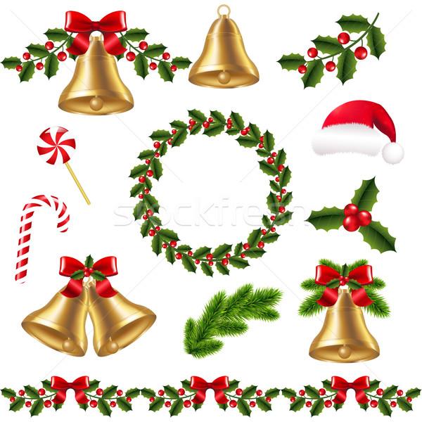 Рождества набор градиент древесины искусства Сток-фото © cammep