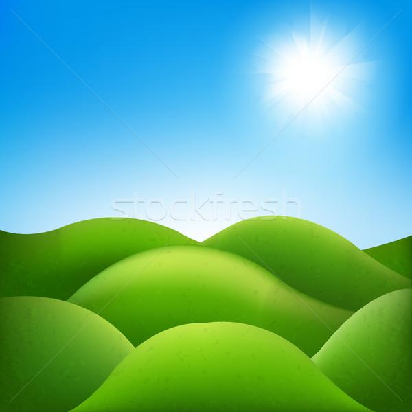 Fantastyczny krajobraz gradient niebo wiosną Zdjęcia stock © cammep