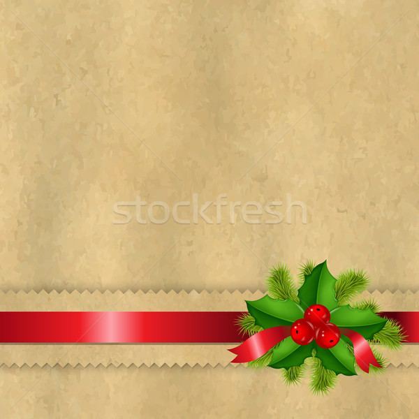Vintage Paper With Divider And Holly Berry Stock photo © cammep