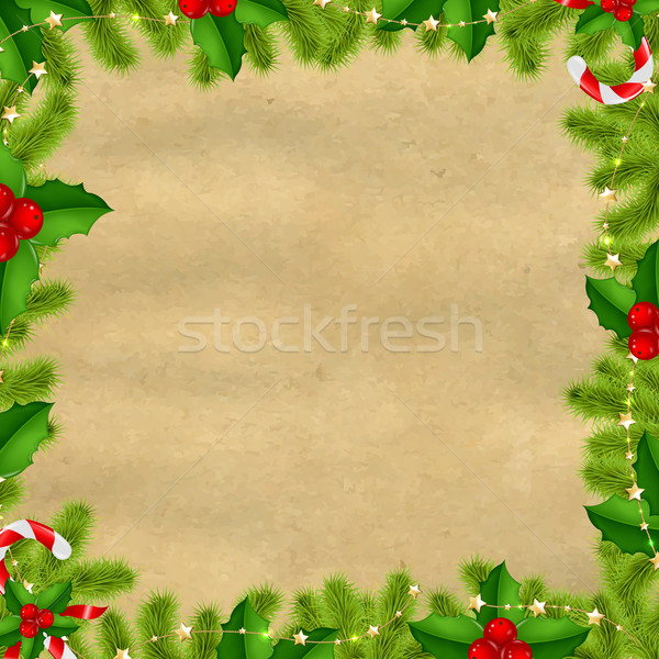 Border Fir-tree Branches With Gold Stars And Old Papper Stock photo © cammep
