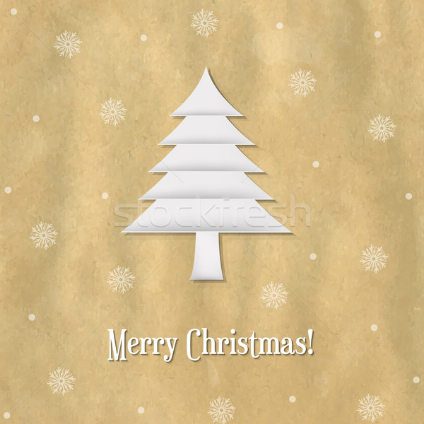 Christmas Paper Card With Paper Fir-tree Stock photo © cammep