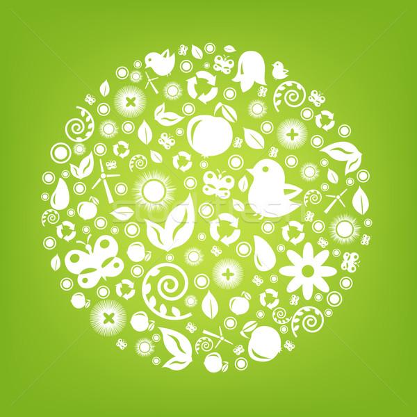 Groene eco planeet geïsoleerd water boom Stockfoto © cammep