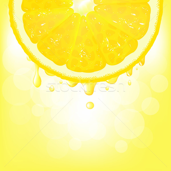Lemon Segment With Juice And Bokeh Stock photo © cammep