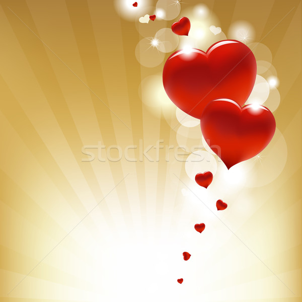 Gold Background With Star And Hearts Stock photo © cammep