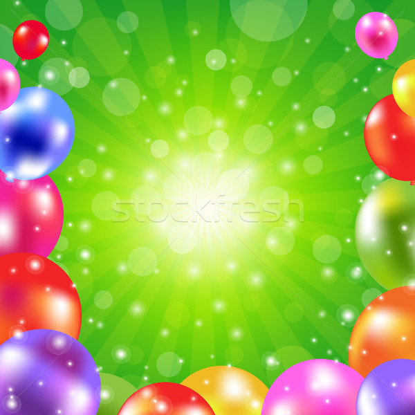 Birthday Green Sunburst Poster Stock photo © cammep