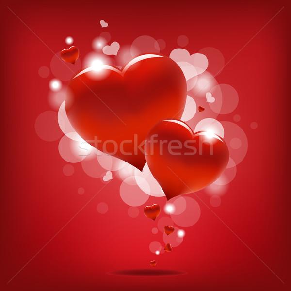 Szívek nap kártya esküvő szív fény Stock fotó © cammep