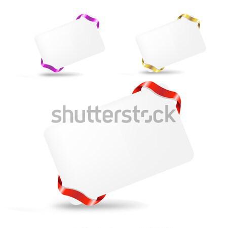 Ajándék címke címkék szalagok izolált fehér Stock fotó © cammep