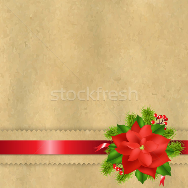 Vintage Paper With Divider And Poinsettia Stock photo © cammep