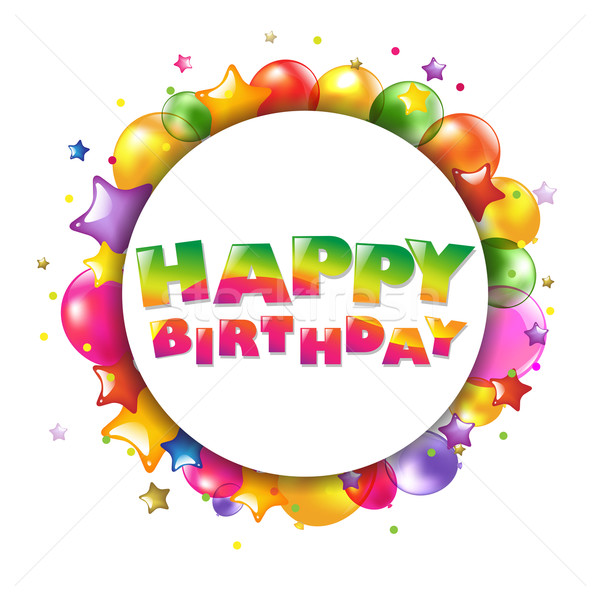 Happy Birthday Colorful Card With Balloons Stock photo © cammep
