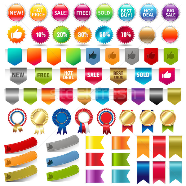 Big Collection Sale Stickers And Web Ribbons Set Stock photo © cammep