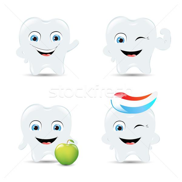Diente iconos aislado blanco cuerpo Foto stock © cammep